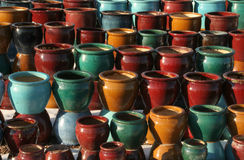 Ceramic pots 1. Colorful painted ceramic pots found in an outdoor market in New Mexico Stock Images