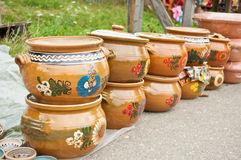 Ceramic Pots. Romanian traditional ceramic pots made ​​for cooking sarmalute stock image
