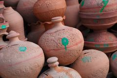 Ceramic pots. On the market in Dubai royalty free stock photography