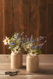Ceramic Pots Filled With Flowers Stock Photo