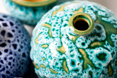 Ceramic pots in glaze stock photography