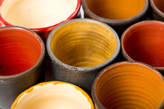 Ceramic pots in glaze Stock Photos