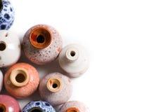 Ceramic pots in glaze royalty free stock photo