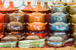 Ceramic pots. Ceramic handmade pots and tagines. Colored pots royalty free stock photos