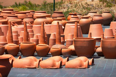 Ceramic pots in market Stock Photos