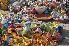 Ceramic pots in a Moroccan market, Meknes. Ceramic Pots on offer in a Moroccan market in the city of Meknes Royalty Free Stock Images