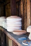Ceramic pots, objects and tools. From a potter workshop stock photography