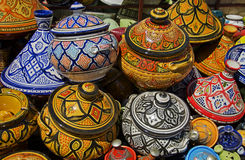 Ceramic Pots. On offer in a Moroccan market in the city of Meknes Royalty Free Stock Image