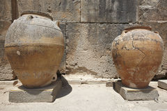 Ceramic pots in Phaestos city ruins in Crete. Greece. Horizontal Stock Photo