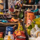 Ceramic pots for sale at artisan market in Ile rousse. L`Ile Rousse, Corsica - 30th September 2018. Hand made ceramic pots and jugs are displayed for sale at an stock images