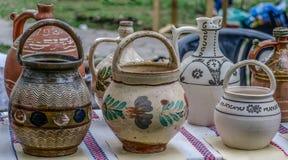 Ceramic pots, traditional from Horezu area. Romania Stock Image