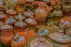 Ceramic pots, traditional from Sibiu, Transylvania area stock images