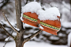 Ceramic pots under the snow Royalty Free Stock Images