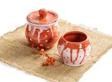 Ceramic pots. on white background stock images
