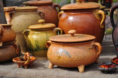 Ceramic pottery. Archaic clay pottery at handicraft market Royalty Free Stock Images