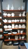 Ceramic pottery in a ceramic shop stock images
