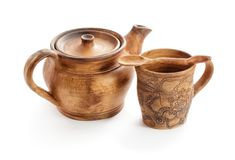 Ceramic pots. on white background royalty free stock images