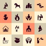 Ceramic products in the icon set in flat style. For website, print, decoration or other you ideas. Pottery wheel, potter, clay horse, and other ceramic products royalty free illustration