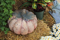 Ceramic Pumpkin on a Bale of Hay Royalty Free Stock Image
