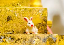 Ceramic rabbits on the wall Royalty Free Stock Images