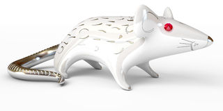 Ceramic rat figurine over white Stock Photography