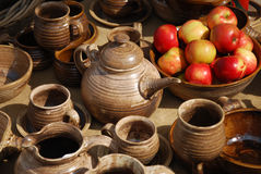 Ceramic retirement. The ceramics pottery decoration table Royalty Free Stock Images