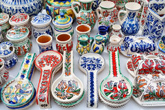 Ceramic traditional colored pottery, Romania Stock Photography