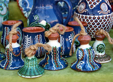 Ceramic traditional colored pottery, Romania Royalty Free Stock Photos
