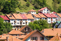 Ceramic roof in the City Nova Varos in the west Serbia. Dinaric Alps - mountain range in the north-west of the Balkan Peninsula. Stretching from the northwest to Stock Image