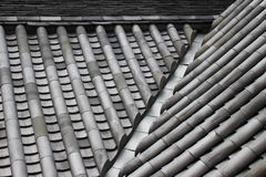 Ceramic Roof Tiles of a Japanese Castle. Traditional ceramic roof tiles, or kawara, of Odawara Castle in Kanagawa prefecture, Japan Stock Photo