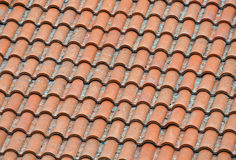 Ceramic roofing. Closeup of dirty ceramic roofing of a house in the village Stock Photography
