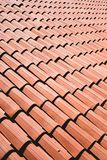 Ceramic tiles on a roof forming a pattern stock photos