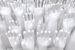 Ceramic rubber glove molds to make cleaning and washing gloves t stock photo