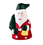 Ceramic santa. With spruce on white isolated background Royalty Free Stock Photo