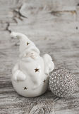 Ceramic Santa Claus and Christmas decorations Royalty Free Stock Images