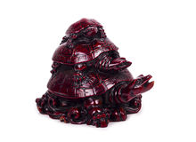 Ceramic sculpture - triple turtle isolated on white background Royalty Free Stock Photos