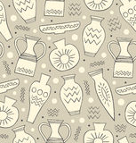 Ceramic seamless pattern. Ethnic national Greek style background. China. Endless texture with hand drawn tableware Stock Photos