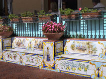 Ceramic Seats in Anacapri on the sland of Capri Italy Royalty Free Stock Images