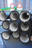 Ceramic sewer pipe Royalty Free Stock Image