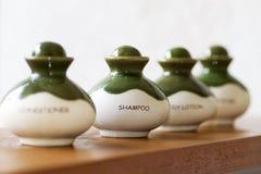 Ceramic shampoo bottle. Stock Photography