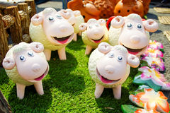 Ceramic Sheep Doll Family Decorated in Garden Stock Image