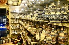 Ceramic shop and beautiful porcelains. Stock Photos