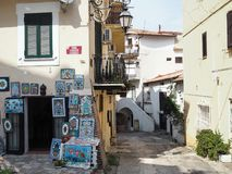 The ancient village of San Felice Circeo in central Italy. Ceramic shop in the historic center of the village San Felice Circeo. Lazio Region, central Italy stock image