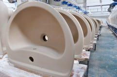 Ceramic sink factory. This photo is raw ceramic sink from ceramic factory Royalty Free Stock Photo