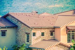 Ceramic Slates House Roof Royalty Free Stock Photography
