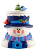 Ceramic snowman smiling and wearing winter clothing Royalty Free Stock Image