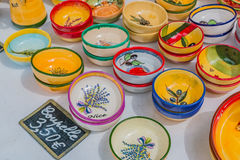Ceramic souvenir pottery dishes at the Cours Saleya famous marke Royalty Free Stock Images