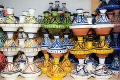 Ceramic souvenirs. Ceramic souvenirs - in the form of little tagines, you can bring to the table a variety of spices royalty free stock photos