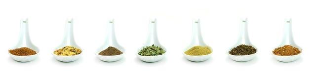 Ceramic spice spoons Stock Photos