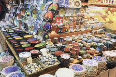 Ceramic and spices stall Royalty Free Stock Photos